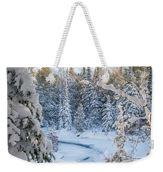 Winter At Grand Marais Creek Weekender Tote Bag