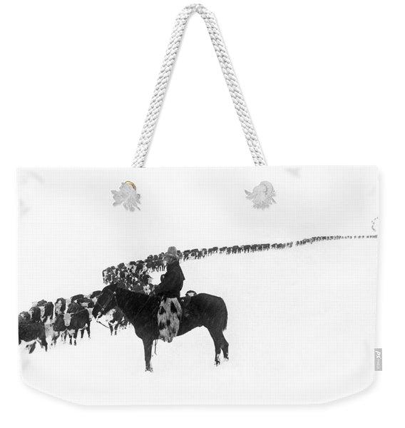 Wintertime Cattle Drive Weekender Tote Bag