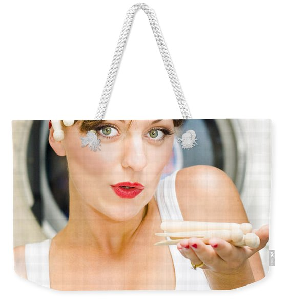Woman Doing Washing Weekender Tote Bag