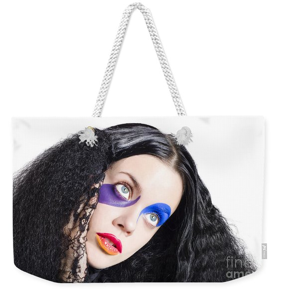 Woman In Colorful Fashion Make Up Weekender Tote Bag