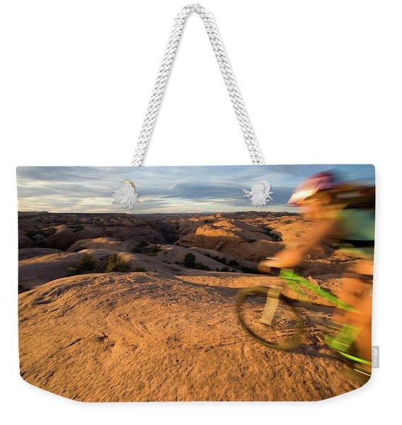 Woman Mountain Biking, Moab, Utah Weekender Tote Bag