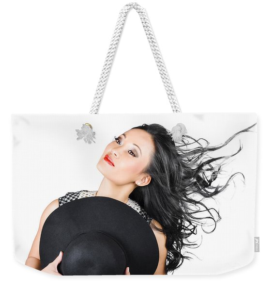 Woman Posing With Hat Weekender Tote Bag