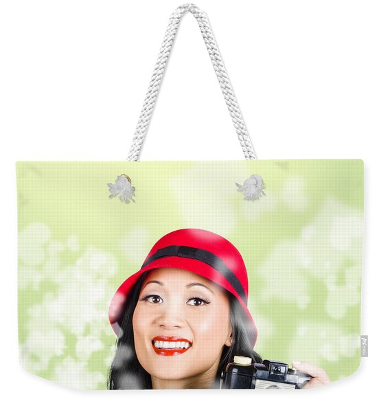 Woman Taking Photographs With Vintage Camera Weekender Tote Bag