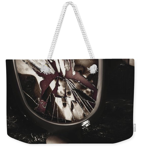 Woman With Broken Mirror And Shattered Reflection Weekender Tote Bag