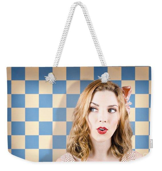 Young Beautiful Retro Girl Looking Surprised Weekender Tote Bag