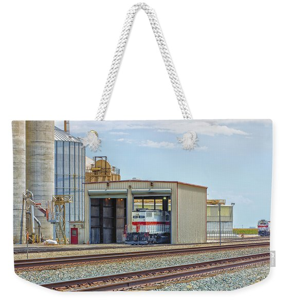 Weekender Tote Bag featuring the photograph Foster Farms Locomotives by Jim Thompson