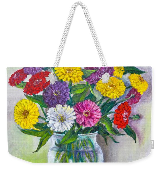Old Fashioned Zinnias Weekender Tote Bag