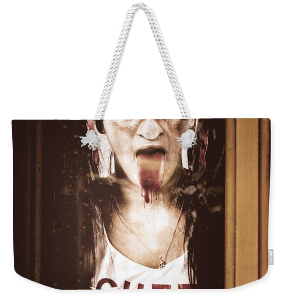 Zombie School Girl Pulling A Funny Face On Glass Weekender Tote Bag