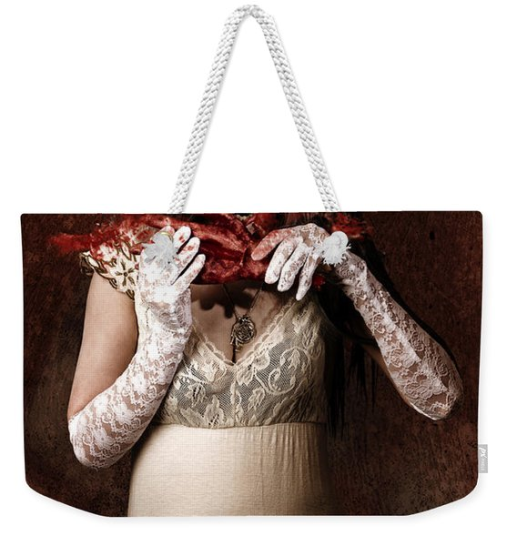Zombie Vampire Woman Eating Human Hand Weekender Tote Bag