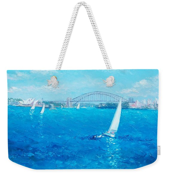 Sydney Harbour Sail Boats And The Opera House By Jan Matson Weekender Tote Bag