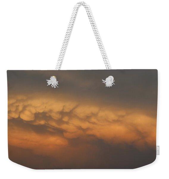 Weekender Tote Bag featuring the photograph Nebraska Mammatus Sunset by NebraskaSC