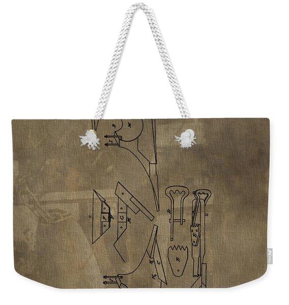 1837 Antique Plow Patent Weekender Tote Bag