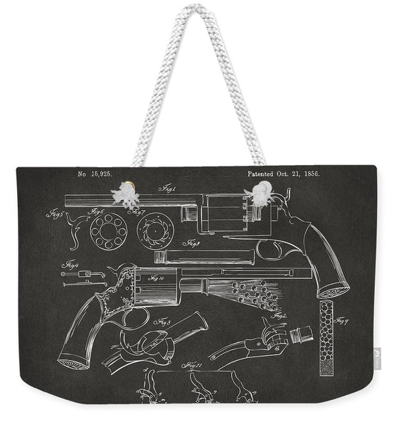 1856 Lemat Revolver Patent Artwork - Gray Weekender Tote Bag