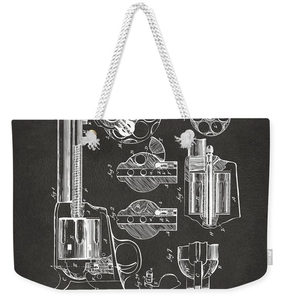 1875 Colt Peacemaker Revolver Patent Artwork - Gray Weekender Tote Bag