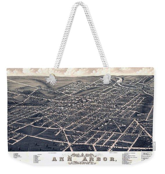 1880 Birds Eye Map Of Ann Arbor Weekender Tote Bag