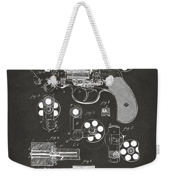 1881 Colt Revolving Fire Arm Patent Artwork - Gray Weekender Tote Bag