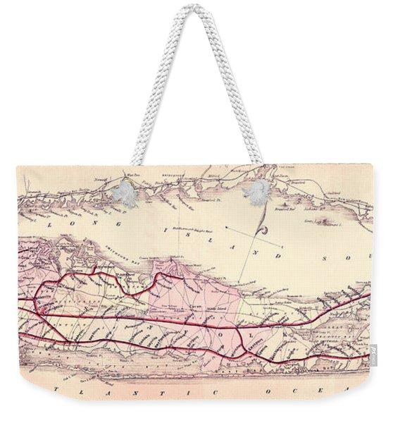 1882 Long Island Railroad Map Weekender Tote Bag