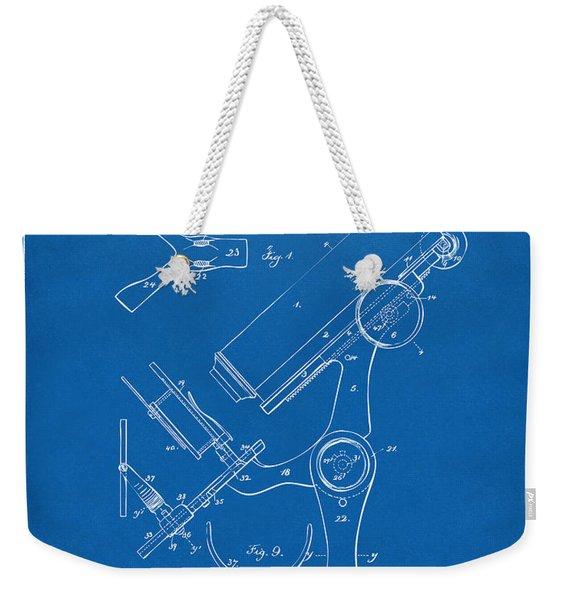 1886 Microscope Patent Artwork - Blueprint Weekender Tote Bag