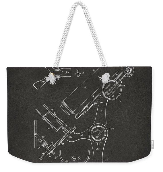 1886 Microscope Patent Artwork - Gray Weekender Tote Bag