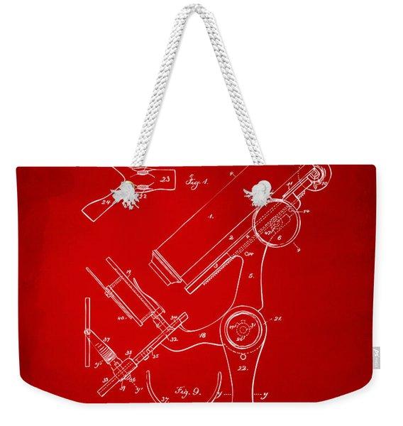 1886 Microscope Patent Artwork - Red Weekender Tote Bag