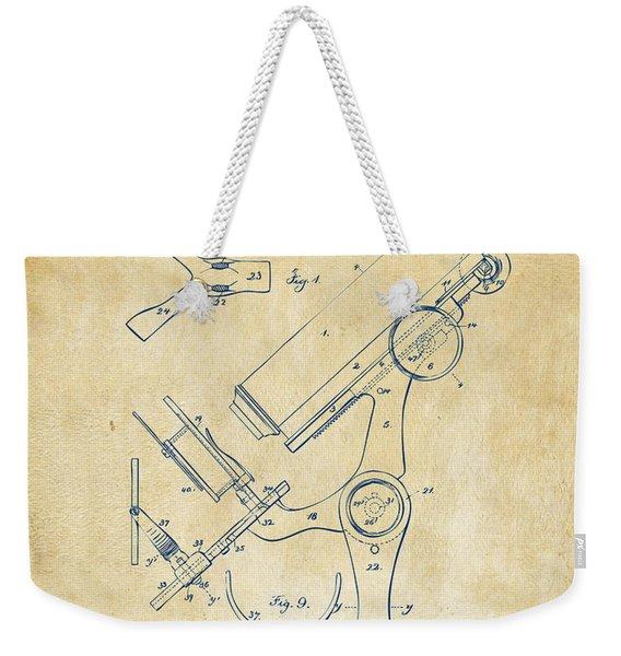 1886 Microscope Patent Artwork - Vintage Weekender Tote Bag