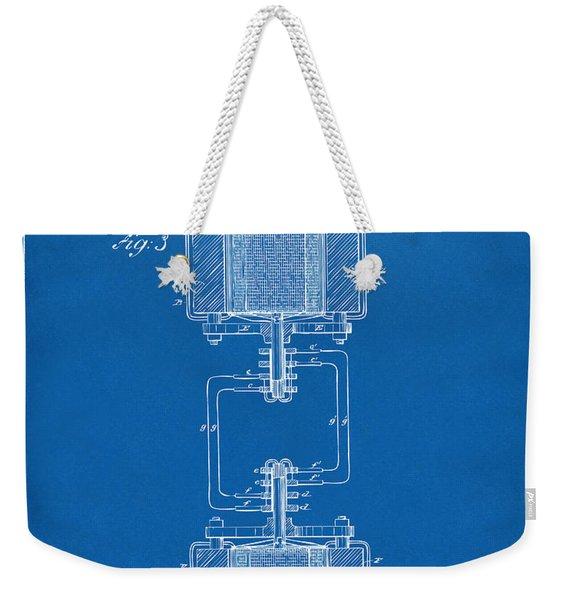1888 Tesla Electro Magnetic Motor Patent - Blueprint Weekender Tote Bag