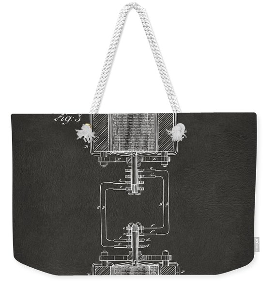 1888 Tesla Electro Magnetic Motor Patent - Gray Weekender Tote Bag