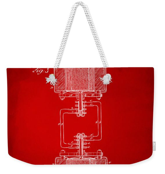 1888 Tesla Electro Magnetic Motor Patent - Red Weekender Tote Bag