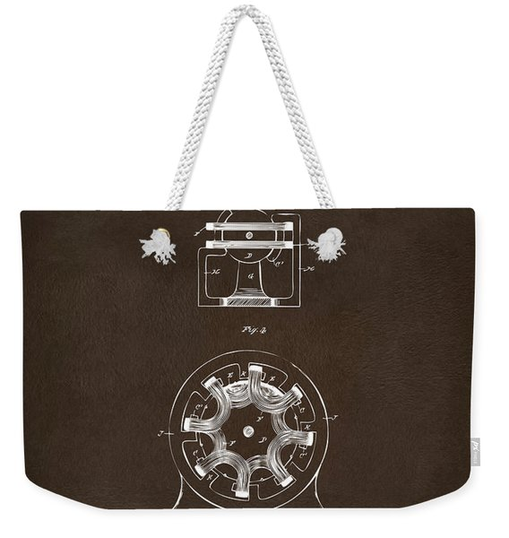 1890 Tesla Motor Patent Espresso Weekender Tote Bag