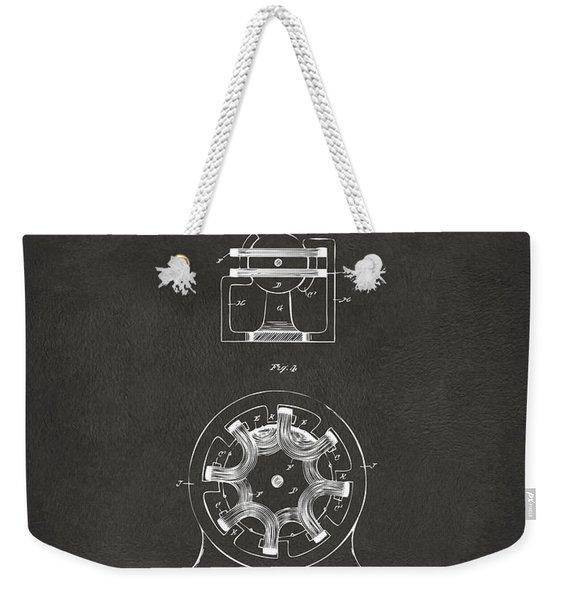1890 Tesla Motor Patent - Gray Weekender Tote Bag
