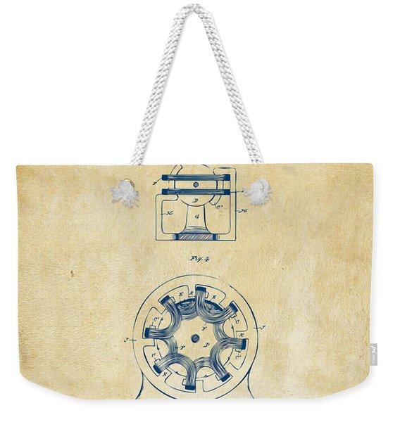 1890 Tesla Motor Patent - Vintage Weekender Tote Bag