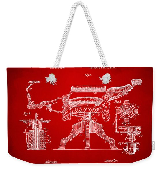 1891 Barber's Chair Patent Artwork Red Weekender Tote Bag