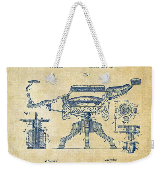 1891 Barber's Chair Patent Artwork Vintage Weekender Tote Bag