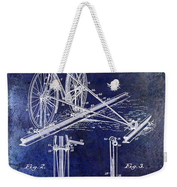 1891 Bicycle Patent Drawing Blue Weekender Tote Bag