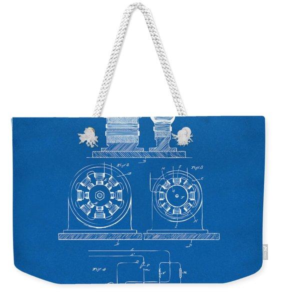 1891 Tesla Electro Magnetic Motor Patent - Blueprint Weekender Tote Bag