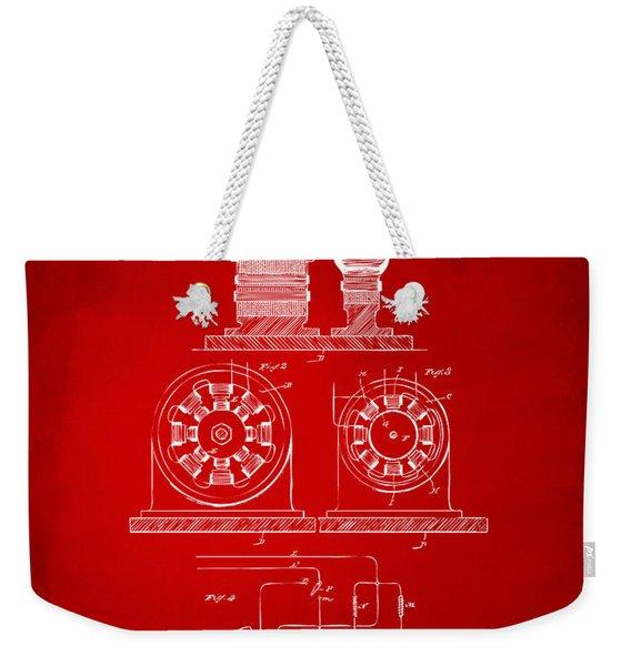 1891 Tesla Electro Magnetic Motor Patent - Red Weekender Tote Bag