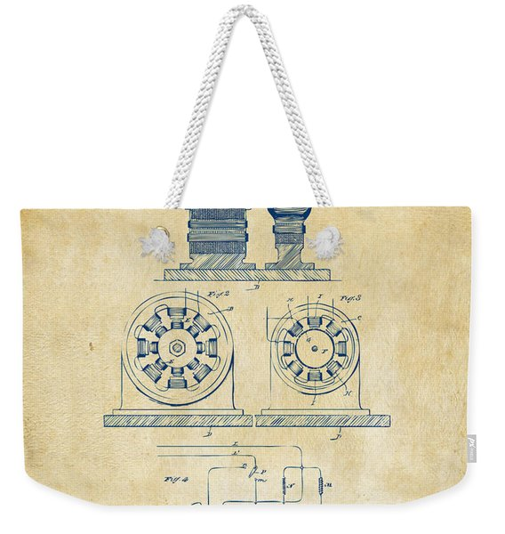 1891 Tesla Electro Magnetic Motor Patent - Vintage Weekender Tote Bag