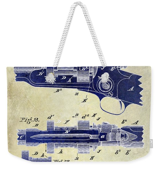 1892 Colt Patent Drawing 2 Tone Weekender Tote Bag