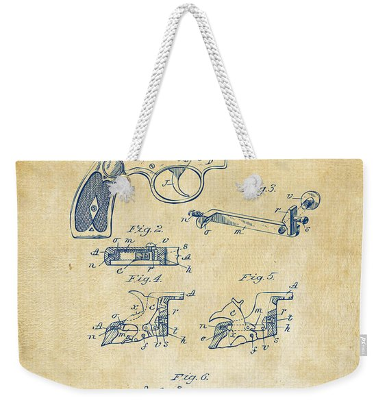 1896 Wesson Safety Device Revolver Patent Artwork - Vintage Weekender Tote Bag