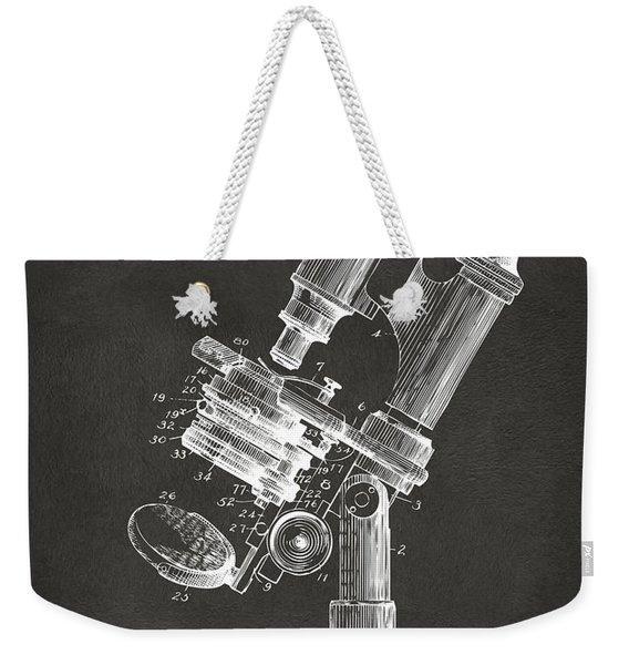 1899 Microscope Patent Gray Weekender Tote Bag