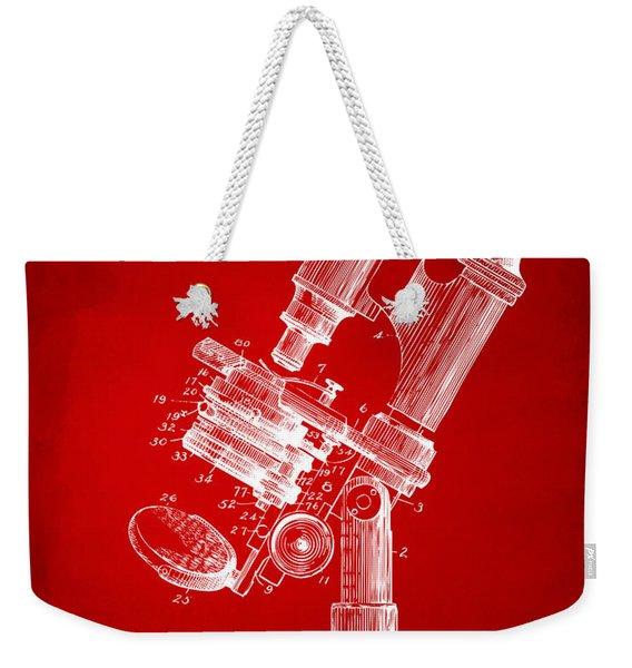 1899 Microscope Patent Red Weekender Tote Bag
