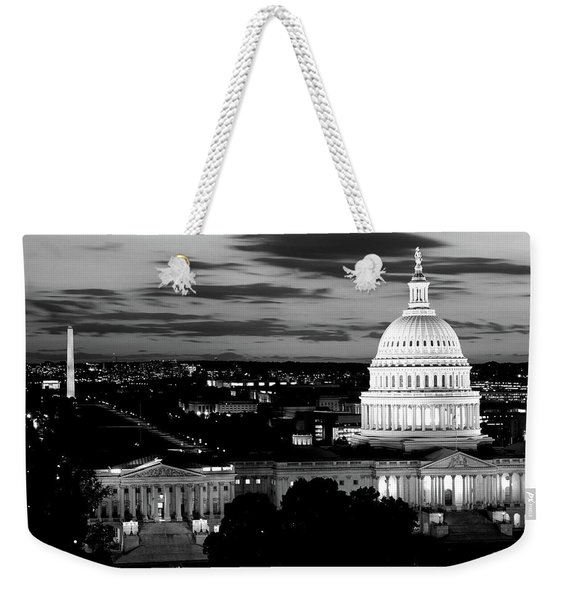 High Angle View Of A City Lit Weekender Tote Bag