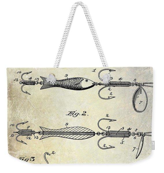1900 Fishing Hook Patent Drawing Weekender Tote Bag
