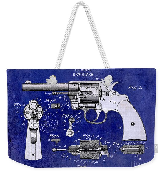 1903 Colt Revolver Patent Drawing Blue 2 Tone Weekender Tote Bag