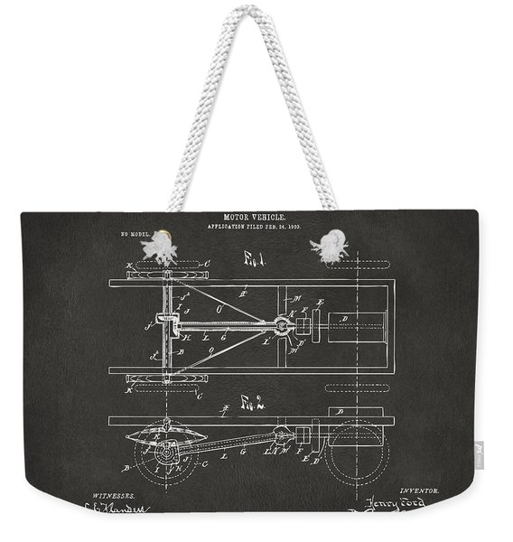 1903 Henry Ford Model T Patent Gray Weekender Tote Bag