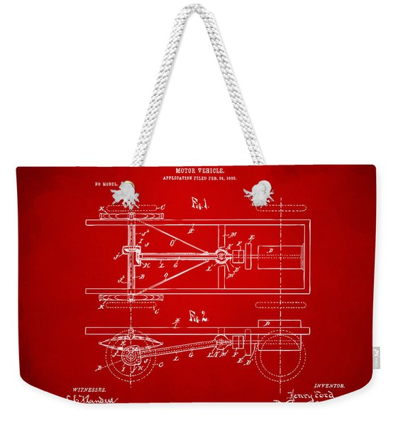 1903 Henry Ford Model T Patent Red Weekender Tote Bag