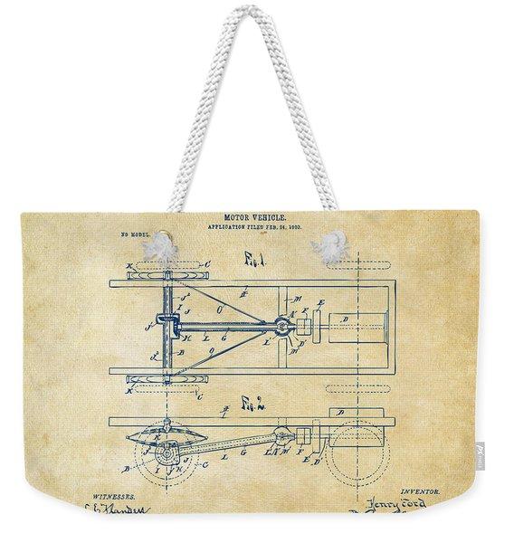 1903 Henry Ford Model T Patent Vintage Weekender Tote Bag