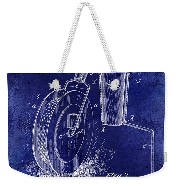 1903 Tennis Court Marker Patent Drawing Blue Weekender Tote Bag
