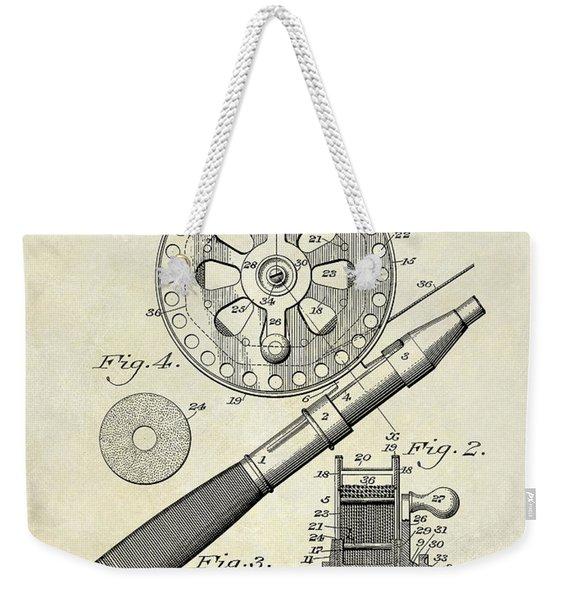 1906 Fishing Reel Patent Drawing Weekender Tote Bag