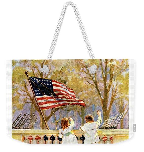 1910s Yankee Doodle Boy And Girl Waving Weekender Tote Bag